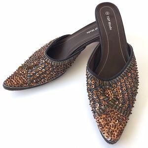 TOP Moda Pointy Toe Kitten Heel Mules Size 8
